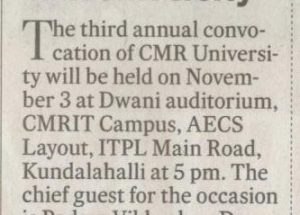 third annual convocation of CMR university News on DH