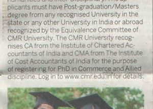 CMRU Invites Application For PhD Programme - New indian express